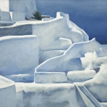 A canvas painting of escalating white architecture on the island of Santorini, which can be found in the Asimis art gallery