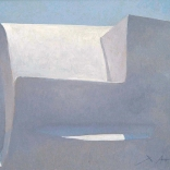 Greek canvas painting by contemporary greek artist of the dome of a cycladic church on the island of Santorini, seen in Asimis art gallery
