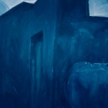 Greek canvas oil paintings, mainly blue themed, by contemporary Greek artist, Katonas Asimis, of Asimis art gallery