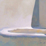 Greek canvas painting by contemporary greek artist, of a cycladic step with detailed paint streaks emphasizing the architectural form