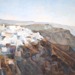 Greek canvas art painting of clustered Santorini buildings overlooking the blue waters meeting santorini caldera, painted by famous Greek artist Christoforos Asimis
