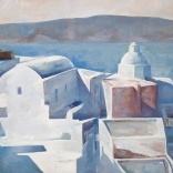 Greek canvas art painting of a typical Santorini church overlooking the Aegean Sea, painted by famous Greek artist Christoforos Asimis