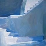 Greek canvas oil painting of Santorini style stairs, using soft blue paint streaks, by Greek contemporary artist Katonas Asimis