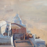 The view of Santorini as seen at dusk from a high location, painted as an oil canvas by contemporary greek artist, Christoforos Asimis
