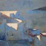 Greek oil painting by famous contemporary greek artist, of the Santorini view painted with dark streaks giving the blurred effect