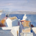 Greek canvas art painting of clustered Santorini buildings overlooking the blue waters meeting the Santorini caldera, painted by famous Greek artist Christoforos Asimis