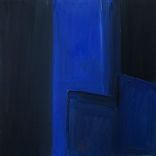 Greek canvas painting, of a minimal design using dark blue bold colours, painted by contemporary Greek artist, Katonas Asimis, of the Greek art gallery, Asimis