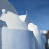 Greek canvas painting by contemporary greek artist of greek architecture on the island of Santorini