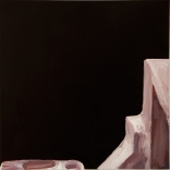 Minimal greek canvas oil painting, by contemporary Greek artist Katonas Asimis, who used black as the main colour, with only a small amount of brown details