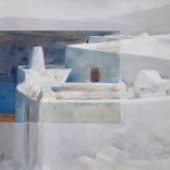 Greek oil panting by famous contemporary greek artist of traditional building in Santorini painted with delicate streaks as seen from a high focal point