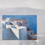 Greek canvas oil painting by famous contemporary greek artist Christoforos Asimis of the architecture found in Santorini, using the effect of a gray backround