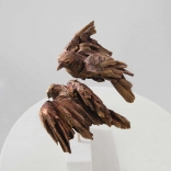 Two scultpted birds representing eros, captured from birds eye view, as seen in a Greek art gallery in Santorini, called Asimis
