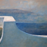 Greek canvas painting by contemporary greek artist seen in Asimis art gallery of the sea view as seen from a leveled terrace overlooking the blue waters of Santorini