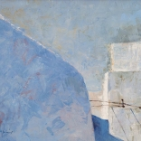 Greek canvas art of two buildings, painted through a close up angle, showing the egded and rounded details of Santorini architecture