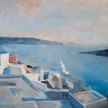 Greek oil painting of the endless blue waters of Santorini with terraced buildings jutting out of the corner, painted by a famous greek contemporary artist
