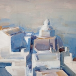 The view of mediterranean architecture found in Santorini, painted as a canvas oil painting by Christoforos Asimis of Asimis art gallery in Santorini