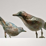 Bronze sculptures of two birds, by Greek contemporary artist, Eleni Kolaitou