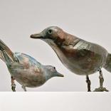 Bronze sculptures of two birds, by Greek contemporary artist, Eleni Kolaitou