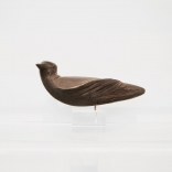 Bronze bird sculpture with intricate tale details, sculpted by Greek contemporary artist Eleni Kolaitou, of Asimis art gallery