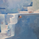 A canvas oil painting by a contemporary greek artist of white stairs painted from a corner angle showcasing the simple, clean lines of the architecture of Santorini