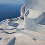 Greek canvas oil painting, found in the greek art gallery Asimis, of the top of Santorini buildings overlooking the blue sea of the Mediterranean