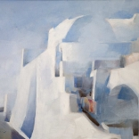 Greek canvas oil painting by famous contemporary greek artist of the architecture found in Santorini, mainly focusing on clean white streaks and the transparency of light.
