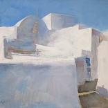 Greek canvas oil painting by famous contemporary greek artist of the architecture found in Santorini, mainly focusing on clean white streaks against the blue sky and shadows