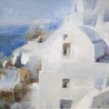 Canvas oil painting, seen in a greek art gallery in Santorini, of a famous contemporary artist, of white building in Santorini overlooking the aegean sea