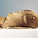 Bronze fish sculpture sculted in motion, as seen in Greek art gallery AK Santorini, Greece, by contemporary Greek artist Eleni Kolaitou