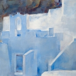 Greek oil painting by famous contemporary greek artist of the entrance of a church in Santorini island, found in the greek art gallery, Asimis