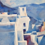 Greek oil painting by famous contemporary greek artist of traditional Santorini architecture mixing into the endless blue cycladic skies