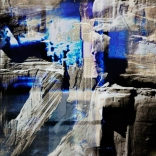 Digital composition of archaic forms and blue strikes painted by Greek contemporary artist, Katonas Asimis