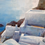 Greek oil painting by famous contemporary greek artist of traditional Santorini architecture standing over the blue waters of the island