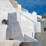 Greek canvas painting by contemporary greek artist seen in Asimis art gallery of Santorini architecture from a lower leveled view