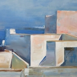 Greek canvas oil painting by contemporary Greek artist Christoforos Asimis, of traditional architecture found on the island of Santorini