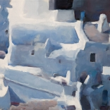 Greek canvas oil painting by contemporary Greek artist Christoforos Asimis, of the aeriel view of traditional white architecture found on the island of Santorini