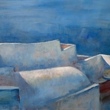 Greek oil painting by famous contemporary greek artist, of a high view of Santorini architecture meeting the blue waters, using dark shaded paint streaks