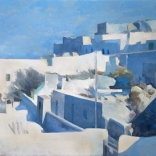 Greek oil painting by famours contemporary greek artist of a traditional residential area in Santorini covered by escalating white buildings of all styles and sizes
