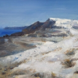 Greek canvas oil painting by contemporary Greek artist Christoforos Asimis, of a hilly area in Santorini with a touch of the blue sea in the far background